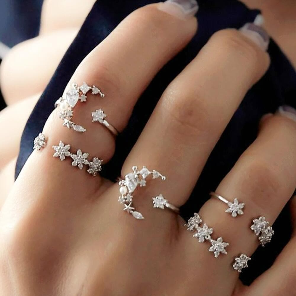 Set of Five Moon Flower Rings