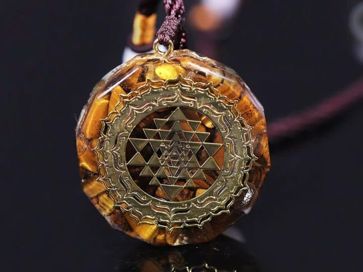 TIGER EYE SACRED GEOMETRY NECKLACE