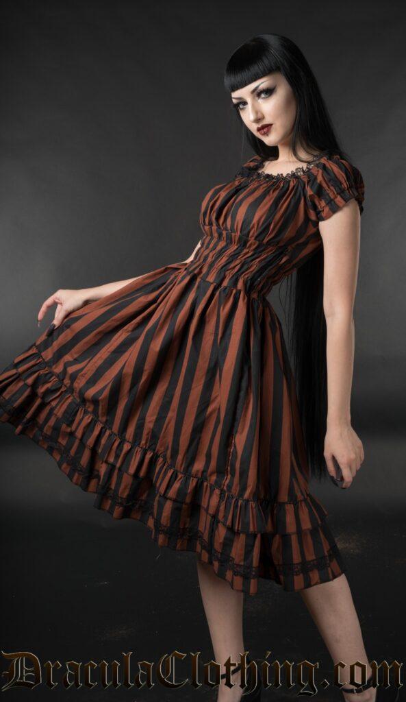 steampunk dress: brown gothabilly dress